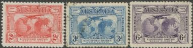 Australia KGV SG121-3 1931 Kingford Smith's World Flights set of 3 (AGCU/382)